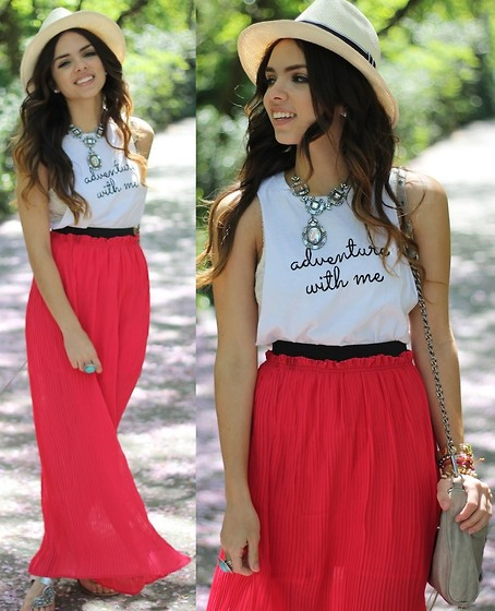 Daniela Ramirez - Limited Edition:Adventure With Me Shirt, Coral Maxi Skirt, Jeweled Necklace, Turquoise Ring - Life is either a great adventure...or nothing!