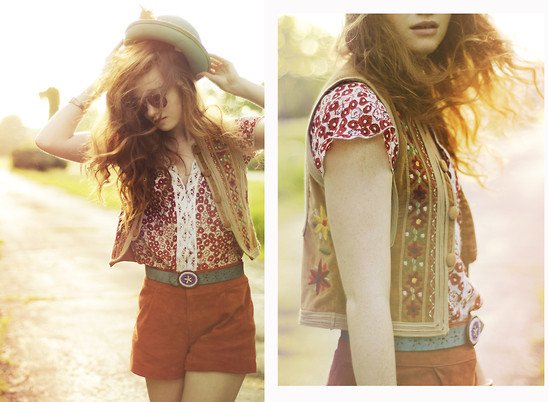 Esther Boller - Lace Blouse, Embroidered Vest, Seude Belt, Turquoises Hat, Vintage Turquoises Bracelet, Guess? Aviators, Forever 21 Suede Shorts -  Summer is fleeting and it just begun...