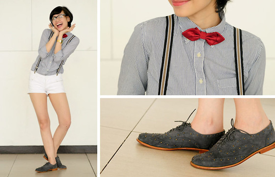 Bea Benedicto - Forever 21 Red Diamond Bow Tie, Blue Suede Brogues, Suspenders, White Shorts, Ray Ban Glasses - Little Boy Blue