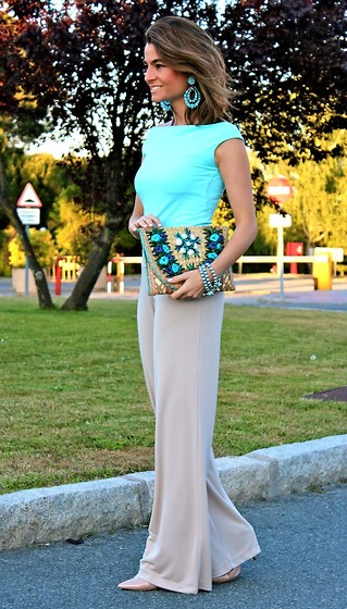 Silvia Garcia Blanco - Earrings, Bag, T Shirt, Bracelet, Pants, Mango Shoes - Baby blue / Azul bebé