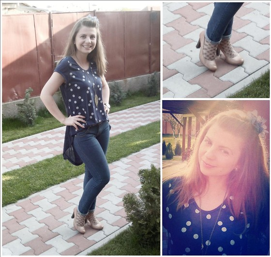 Loredana Oprea - Local Store Blue Top, Bershka Blue Jeans, Bb Up Cream Shoes, H&M Blue Flower - Dots on me