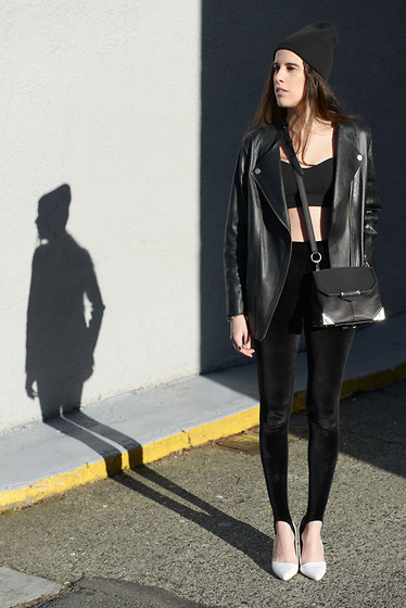 Melissa Araujo - American Apparel Hat, H&M Leather Jacket, Brandy Melville Usa Crop Top, Alexander Wang Bag, American Apparel Velvet Leggings, Aldo Heels - 90's Love