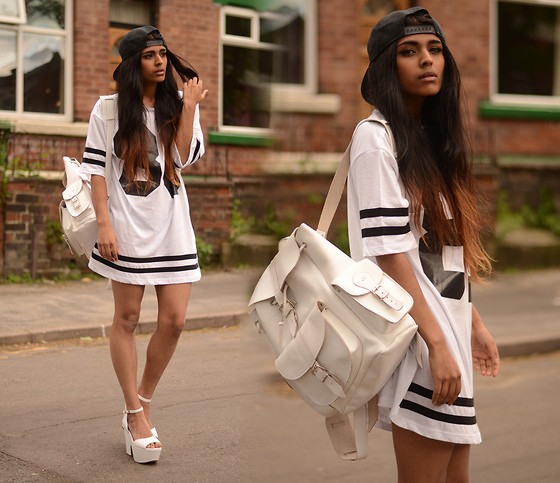 Kavita D - Topshop The Number 86 Tee, Grafea White Rucksack, Ebay Chunky White Heels, Boy Black Snapback - The Number 86