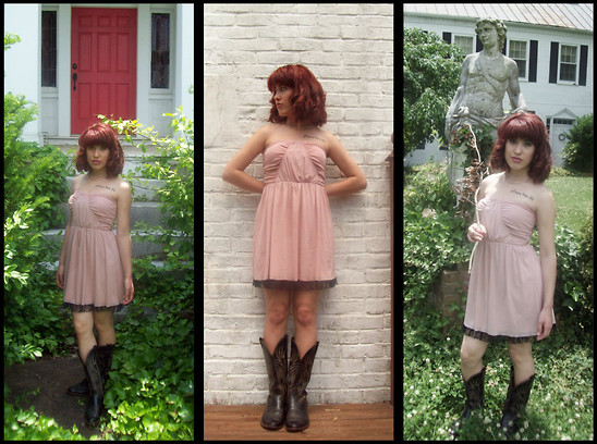 Reina H - Vintage Black Boots 80's Cowboy, Hot Topic Pale Pink Dress - Is the grass always greener on the other side?