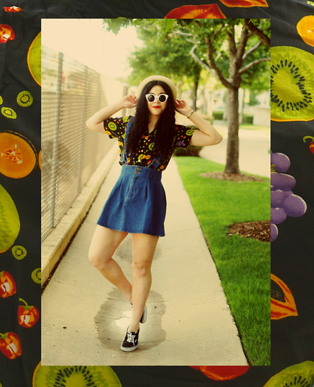 Hope Bidinger - Imomoi Denim Suspender Skirt, Thrifted Fruit Shirt, Forever 21 Straw Bowler Hat, Vans Kicks - Feeling Fruity