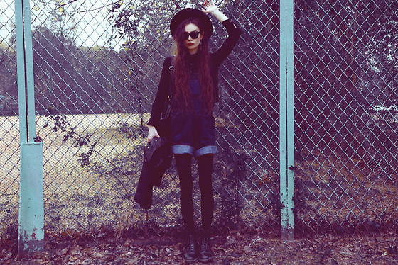 Violet Ell - Thrift Store Denim Overall, Thrift Store Black Shirt, Topshop Leather Jacket, Thrift Store Leather Backpack, Thrift Store Hat, Dr. Martens Boots, Ray Ban Sunglasses - 10.05.2013