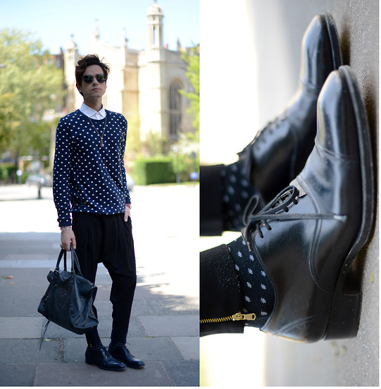 Gianni Sarracino - Balenciaga Work Bag, Tom Ford Oxford Shoes - POLKADOT OBSESSION