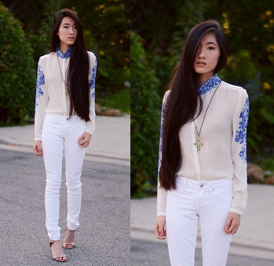 Jennifer Wang - The Editor's Market China Print Blouse, Articles Of Society White Skinny Jeans, Nine West Nude Ankle Strap Pumps - ARTIFACT