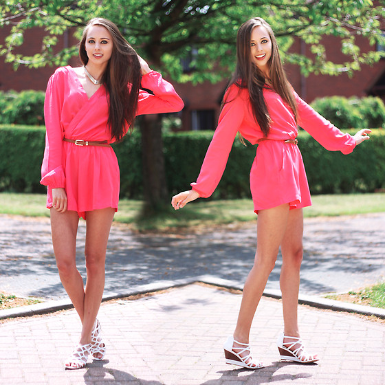 Rachael Jane H - In Love With Fashion Pink Playsuit - Pink Playsuit | www.kokoluxe.com