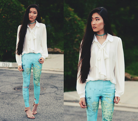 Jennifer Wang - Sugarlips Bow Tie Blouse, Dreamachine Clothing Map Leggings, Nine West Nude Ankle Strap Pumps - LATITUDE