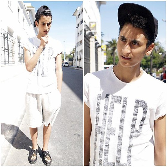 Anass Louasfi - H&M Cap, Bershka Help Tee, H&M Short, Shoes Creepers - Let's go....