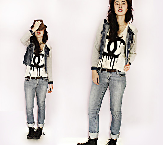 Patricia Henson - Denim Varsity Jacket, Chanel Dripping Tanktop, Blue Jeans, Converse Black - Drip that Chanel
