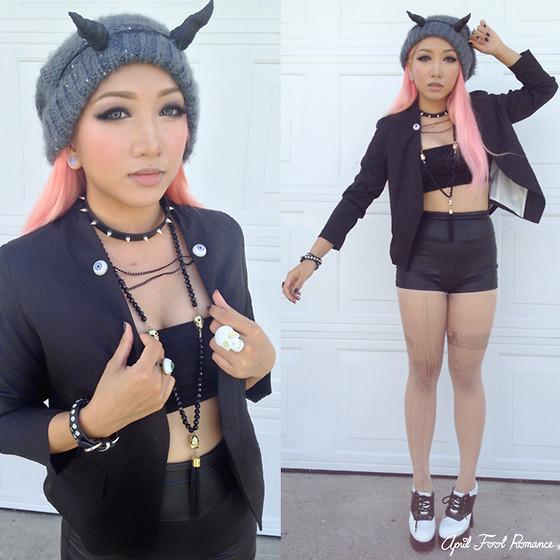 Rina H - Sheinside Black Blazer, Paper Cute Demon Horns - Here Come The Demon Days