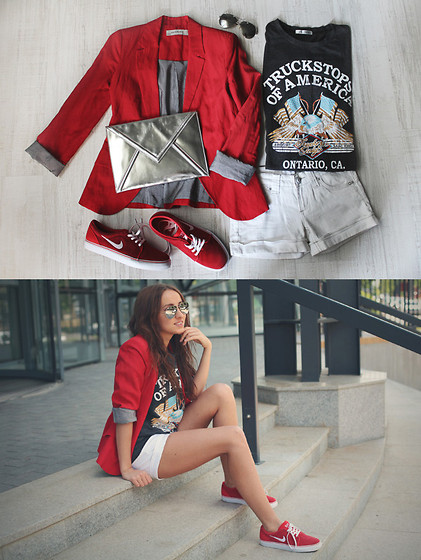 Candice P - Zara Jacket, Nike Shoes, T Shirt - Red jacket