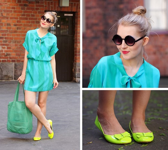 Jenni R. - Second Hand Silk Dress, Lumi Accessories Leather Bag, Topway Ballerinas, Lindex Sunglasses, Mac Lipstick - Mint green and neon yellow summer love