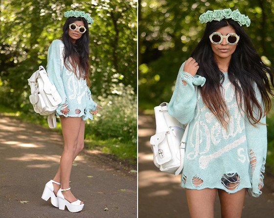 Kavita D - Drop Dead Sweater, Missguided Shorts, Grafea White Rucksack, Wildfox Couture Bel Air White Sunglasses, Crown And Glory Mint Floral, White Chunky Wedges - Drop Dead.
