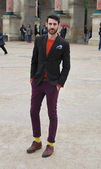 Adrian Cano - Brown Blazer, Blue Pocket Square, Orange Sweater, Purple Chinos, Yellow Socks, Brown Brogues - Paris, je t'aime