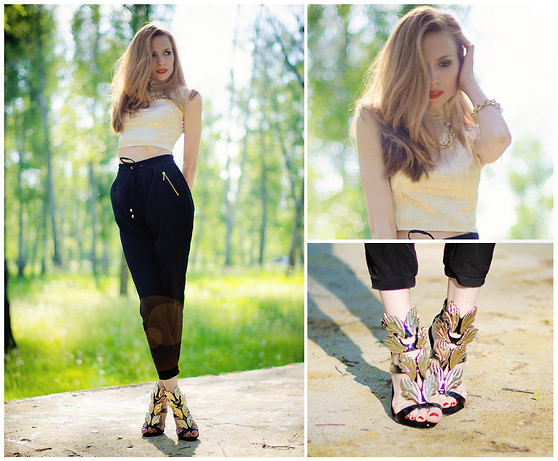 Tini Tani - Choies Shoes, My Design Top, Bershka Pants - Golden wings