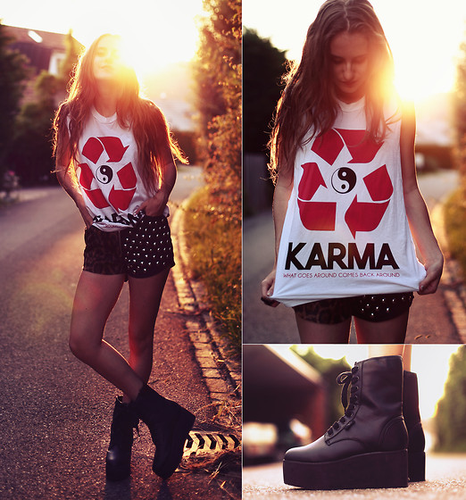 Jessica Christ - Jac Vanek Karma Muscle Tee, Unif The Jagger Short, Yru The Bloq Boot - WHAT GOES AROUND COMES BACK AROUND!