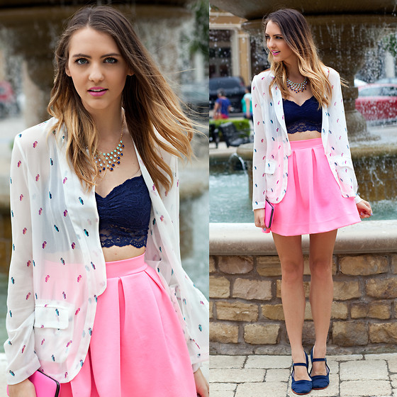 Madeline Becker - Bcbg Loose Parrot Blazer, Victoria's Secret Vs Pink Racerback Bralette, Windsor Neon Pleated Skirt, Francesca's Necklace, Urban Outfitters Navy Mary Janes - BRIGHT & BREEZY