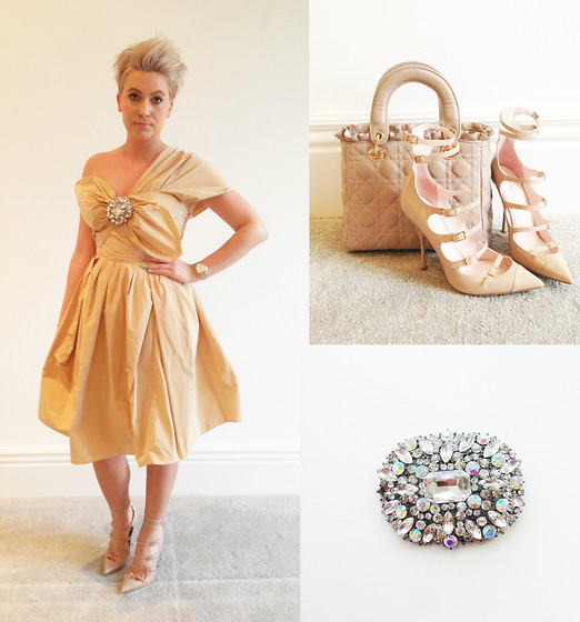 Amelia Tordoff - Carven Bow Dress, Kurt Geiger Strappy Heels, Malissa J Quilted Taupe Bag, Malissa J Wow Brooch - Salmon & Strawberries