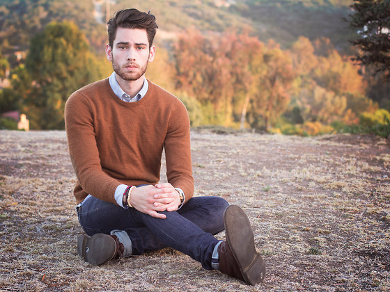 Edward Honaker - J. Crew Sweater, Wings + Horns (Similar) Jeans, Clarks Shoes - THINKING ABOUT THINGS