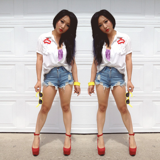 Rina H - Sheinside White Top, Red Heels, High Waisted Shorts - Stay Cool
