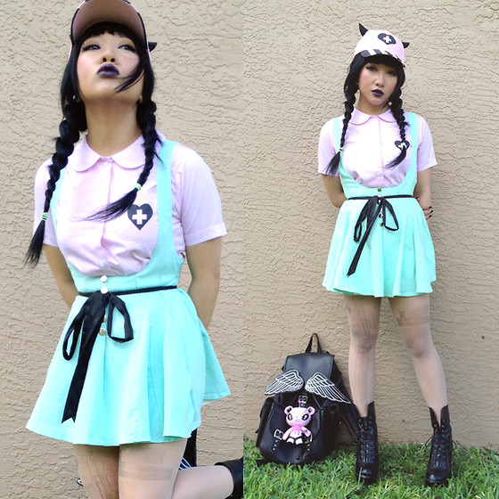 Rina H - Mint Jumper Dress, Lost Mannequin Winged Backpack - Demon School Girl