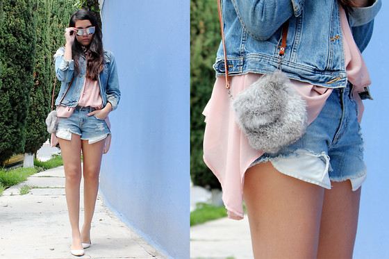 Jennifer Aranda - American Eagle Vintage Jacket, American Eagle Denim Shorts, Vintage Rabbit Baby Bag, Damiana Boutique Chiffon Blouse - You know, denim