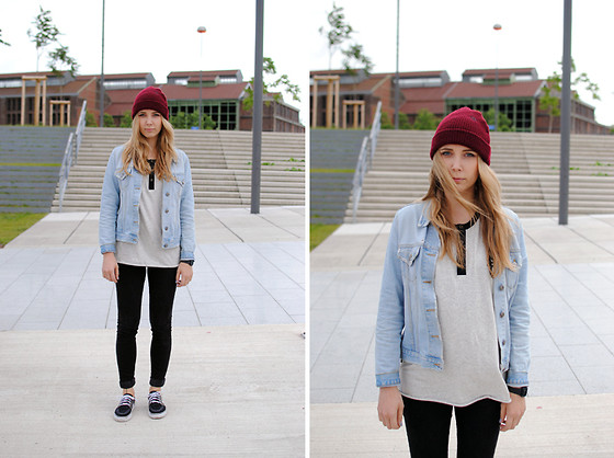 Zwillingsnaht . - Element Beanie, H&M Divided Red Jeans Jacket, Obey Longsleeve, H&M High Skin, Nike Janoski Id - Phoenix west