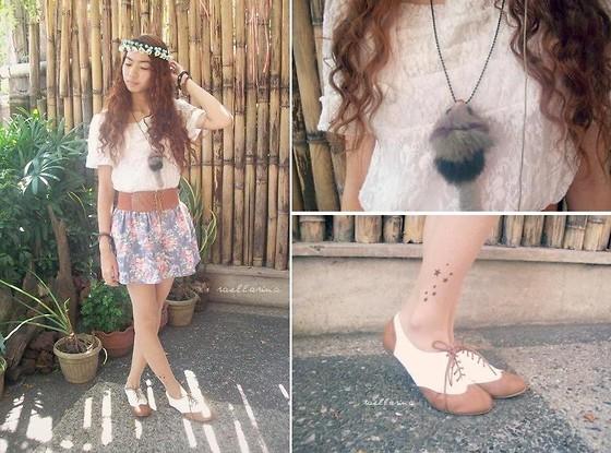 Rae Abigael Caacbay - Thboxes Oxfords, Tatto Stockings From Japan, Kaymar Alekzis Shop Flower Crowns, Thrifted Lace Top, Floral Skirt, Chinese Apparel Bracelet, Diy Necklace - Wandering Lost In The Wilderness