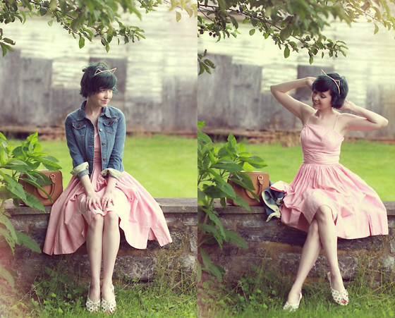 The Clothes Horse R - Vintage Gingham Dress, Crew Cuts Jacket, Minx Headband, Modcloth Sandals - Chobits