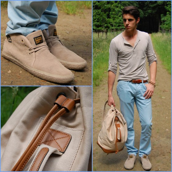 Matthias Geerts - Superdry Light Blue Trousers, G Star Beige Shoes, Zara Bag - It's not only about the Bag