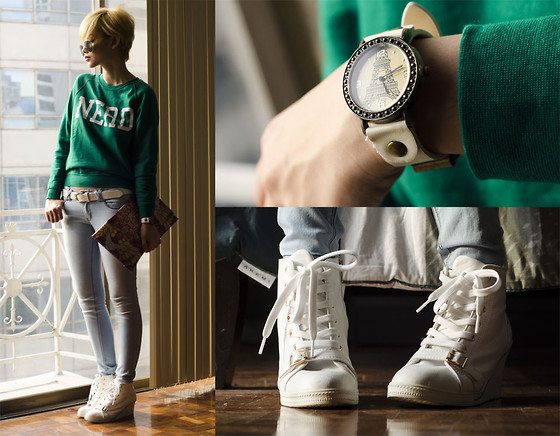 Bea Benedicto - Topshop Nerd Sweater, Dream Big Shop Eiffel Tower Watch - Nerd in Paris