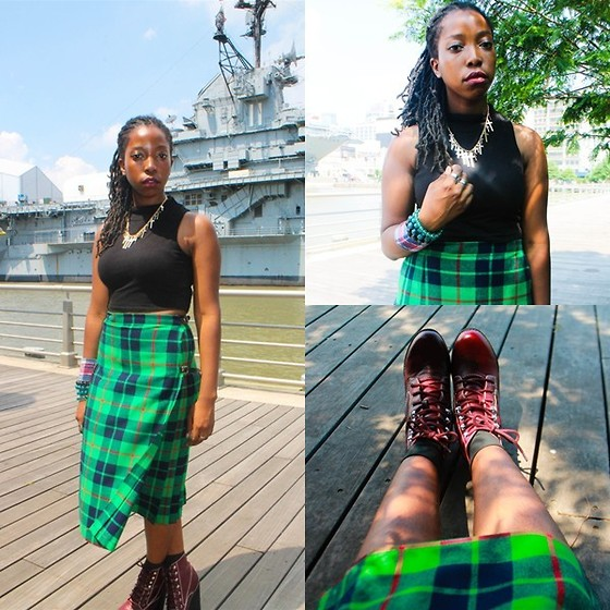 Martina McFarlane - Necessary Clothing High Neck Top, Thrift Plaid Skirt, Jeffrey Campbell Tardy Boots - Paper Planes