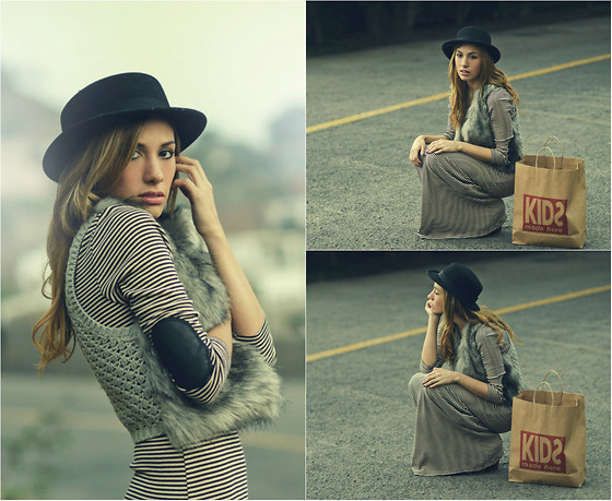 Giuliana ♡ - H&M Bowler Hat, Kidsmadehere Maxidress, Kidsmadehere Knit+Fur Vest, Forever 21 Heart Necklace - Off Road