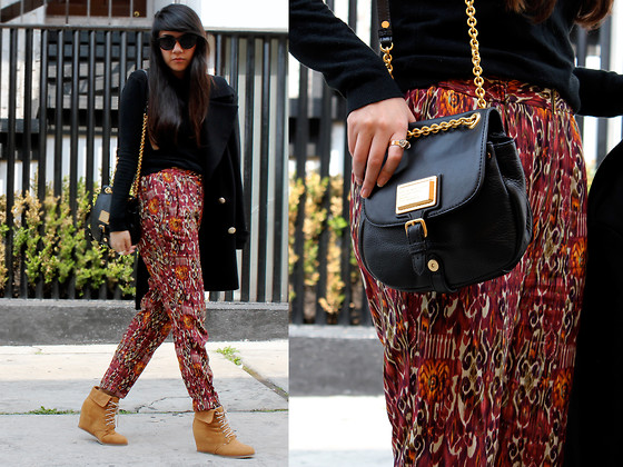Jennifer Aranda - Marc By Jacobs Handbag, Zara Harem Pants, Pull & Bear Camel Ankle Boots, Zara Black And Golden Coat, H&M Black Sunnies - Quite free