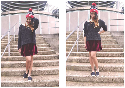 Jay Santiago - Crooks And Castles Mayan Beanie, Gray Knit, Lovisa Gold Plate Necklace, American Apparel Velvet Skirt, Billies, Mac Ruby Woo - Like a red nose