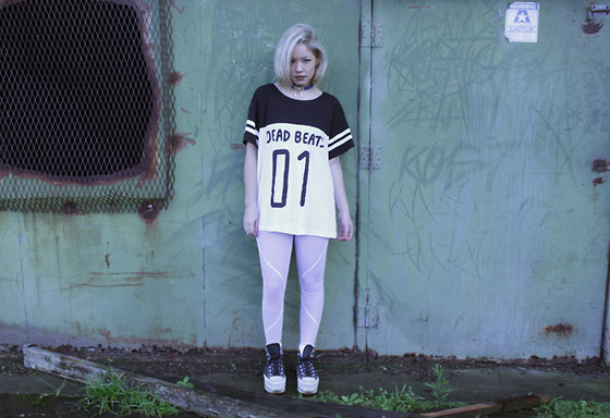 Salunyar Avant - Sick Sad World Nz No F#@%'S Given Collar Necklace, Lazy Oaf Dead Beats Slob T Shirt, Madame Hawke Mesh Tights, Virgo X Wasteland Tall Stars Platform Sneakers - Coma White
