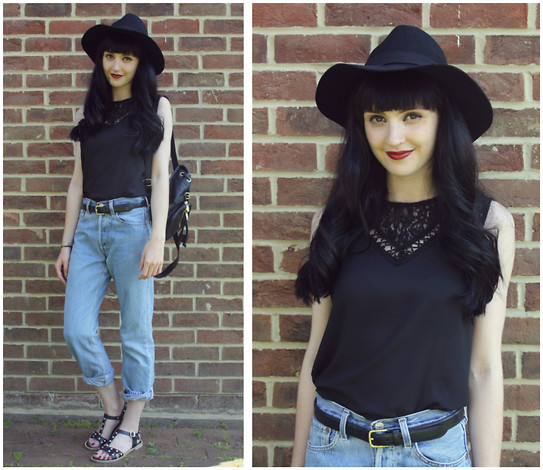 Kayleigh B - Oasap Lace Top, Levi's® Jeans, Topshop Backpack - Nightrain