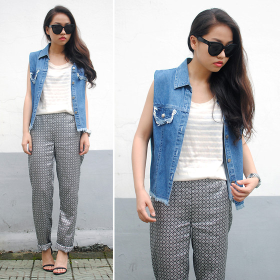 Meijia S - Denim Vest, Silk Pajama Pants, Alexander Wang Sandals, Céline Sunglasses - Silk pajama pants
