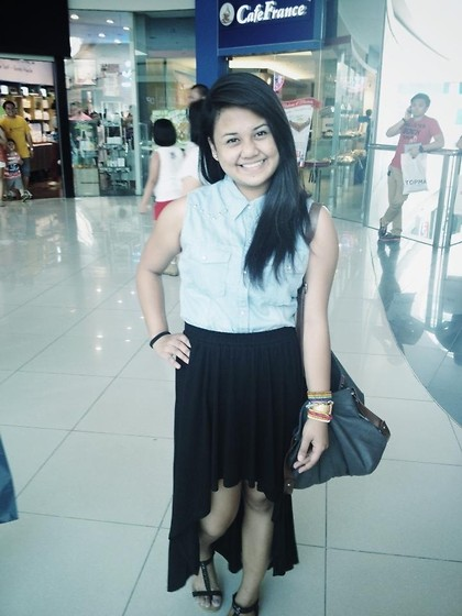 Michi Eleni Camaña - Forever 21 Sleeveless Maong Shirt, Forever 21 Long Skirt - Go long.