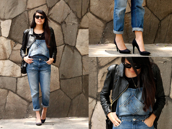 Jennifer Aranda - Pull & Bear Denim Overall, Damiana Boutique Leather Jacket - Over all, overalls