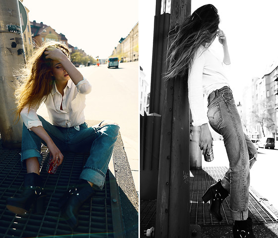 Thilda Mörlid Berglind - Levi's® Jeans, Tbc Boots - NO FUCKIN' MIRACLES WILL HAPPEN HERE
