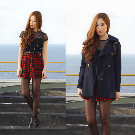 Elle Yamada - Motel Rocks Mesh Crop With Cross Beads, Gowigasa Red Plaid Shorts, Do A Fashion Navy Coat - Mad for Plaid