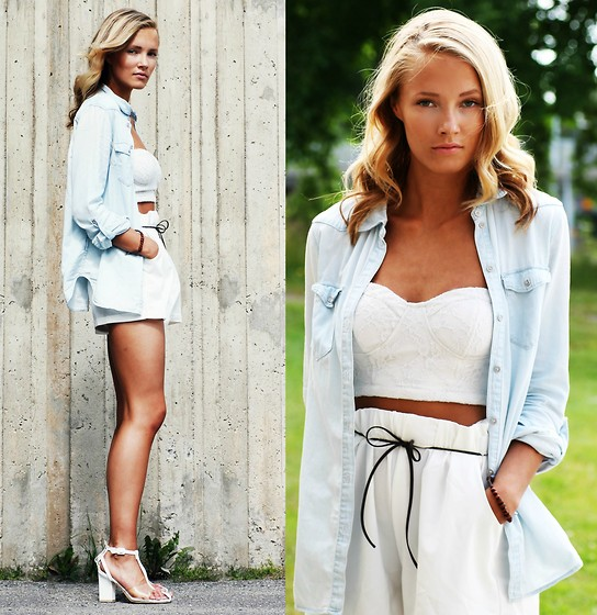 Petra Karlsson - H&M Shirt (Similar), Bandeau, Shorts (Similar), Shoes - July