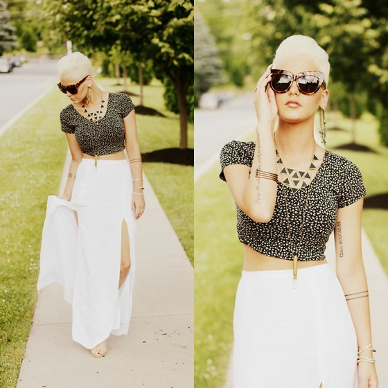 Samii Ryan - Garage Top, Bb Dakota Skirt, Forever 21 Necklace, House Of Harlow Sunglasses - Cropped and Flowy