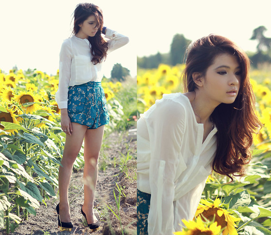Anastasia Siantar - Transparent White Shirt, High Waisted Shorts, Charlotte Olympia Dolly Pumps - Sunflower field