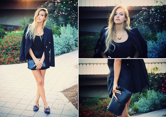 IVANA J. - Mango Blazer, Zara Shorts, Rings&Tings Necklace - BLACK IN SUMMER