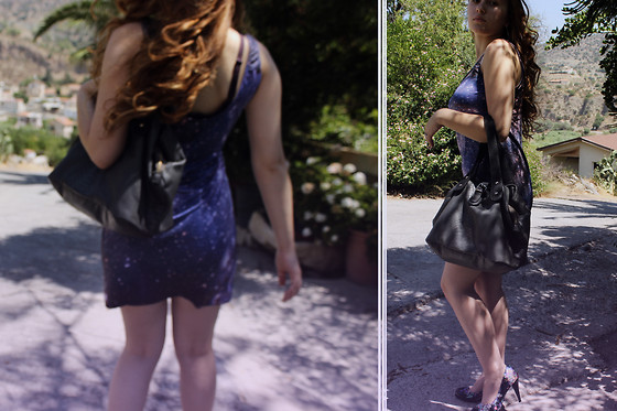 Gina N - Romwe Galaxy Dress, Limited Collection Floral Heels - Oh my Galaxy!